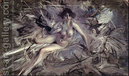 Nude of Young Lady on Couch by Giovanni Boldini - Reproduction Oil Painting