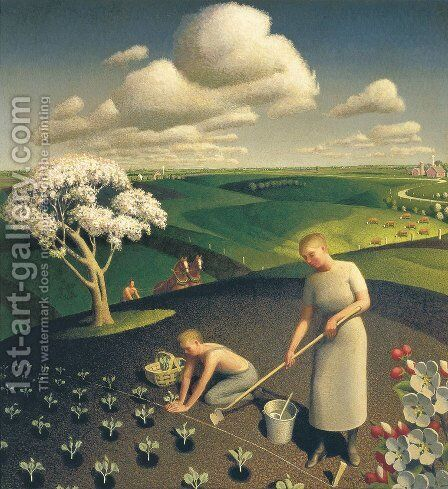 Spring in the Country by Grant Wood - Reproduction Oil Painting