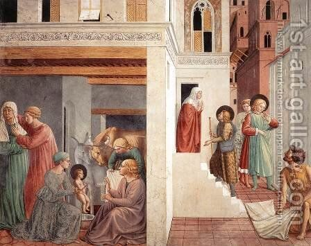 Birth of St. Francis, Prophecy of the Birth by a Pilgrim, Homage of the Simple Man by Benozzo di Lese di Sandro Gozzoli - Reproduction Oil Painting
