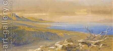 The Dead Sea, Jordan by Edward Lear - Reproduction Oil Painting