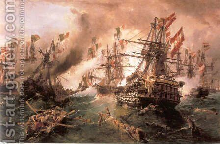 Naval battle at Lissa by Constantinos Volanakis - Reproduction Oil Painting