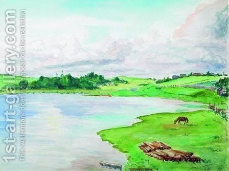 River flooding by Boris Kustodiev - Reproduction Oil Painting