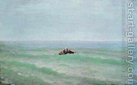 A boat in the sea. Crimea by Arkhip Ivanovich Kuindzhi - Reproduction Oil Painting