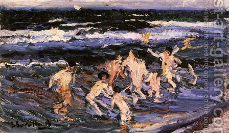Children in the Sea by Joaquin Sorolla y Bastida - Reproduction Oil Painting