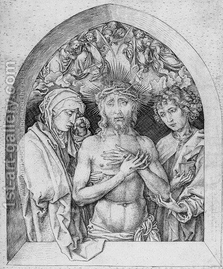 The Man of Sorrows with the Virgin Mary and St. John the Evangelist by Martin Schongauer - Reproduction Oil Painting