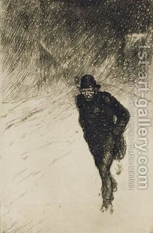 Vagabond Sous La Neige by Theophile Alexandre Steinlen - Reproduction Oil Painting