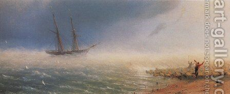 Sheep which forced by storm to the sea by Ivan Konstantinovich Aivazovsky - Reproduction Oil Painting