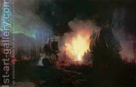 Battle of Chesma 2 by Ivan Konstantinovich Aivazovsky - Reproduction Oil Painting