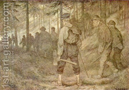 Twelve men in the forest by Theodor Kittelsen - Reproduction Oil Painting