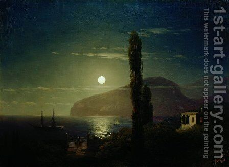 Lunar night in the Crimea by Ivan Konstantinovich Aivazovsky - Reproduction Oil Painting