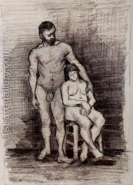 Standing Male and Seated Female Nudes by Vincent Van Gogh - Reproduction Oil Painting