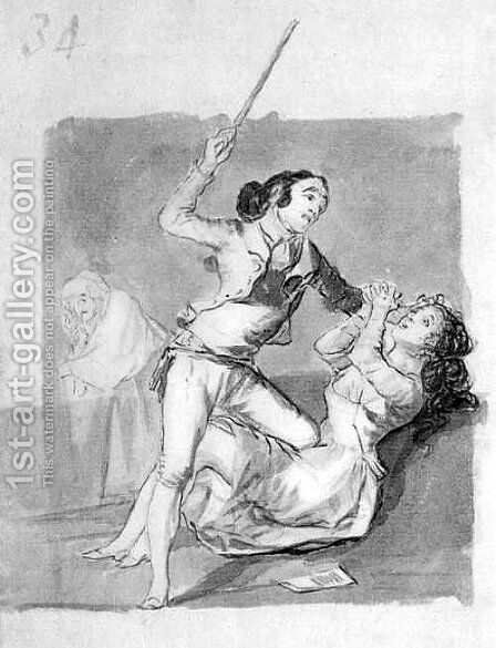 Woman battered with a cane by Goya - Reproduction Oil Painting
