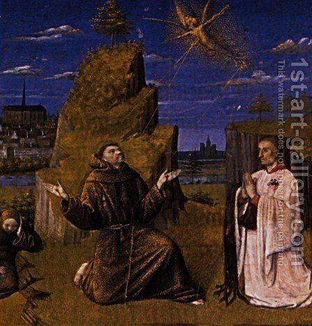 St. Francis Receiving the Stigmata by Jean Fouquet - Reproduction Oil Painting