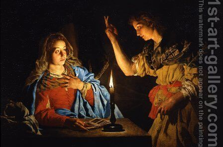 Annunciation by Matthias Stomer - Reproduction Oil Painting