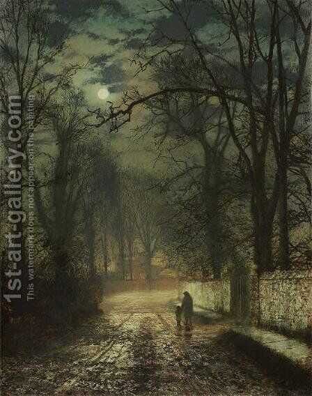 A moonlit lane by John Atkinson Grimshaw - Reproduction Oil Painting
