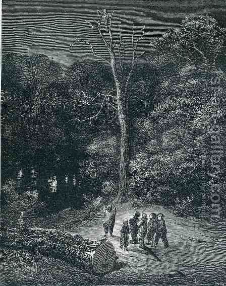 Hop O My Thumb Climbs to the Top of a Tall Tree to See What He Can See by Gustave Dore - Reproduction Oil Painting