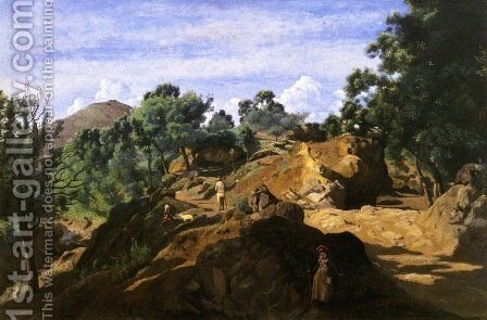 A Chestnut Wood among the Rocks by Jean-Baptiste-Camille Corot - Reproduction Oil Painting