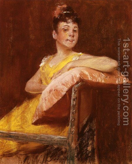 A Girl in Yellow (aka The Yellow Gown) by William Merritt Chase - Reproduction Oil Painting