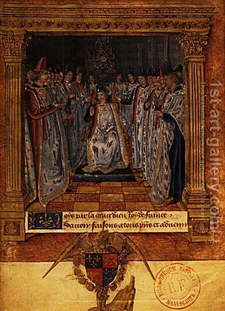 Louis XI chairing a chapter by Jean Fouquet - Reproduction Oil Painting