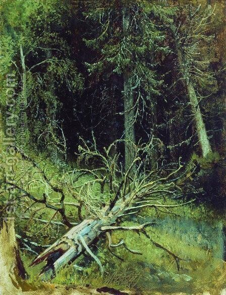 In the fir forest 2 by Ivan Shishkin - Reproduction Oil Painting