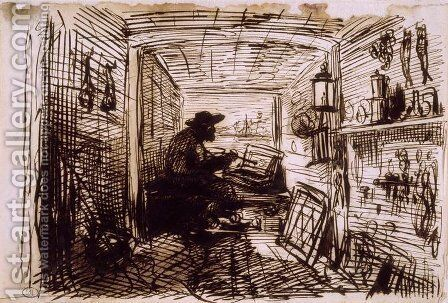 The Studio on the Boat by Charles-Francois Daubigny - Reproduction Oil Painting