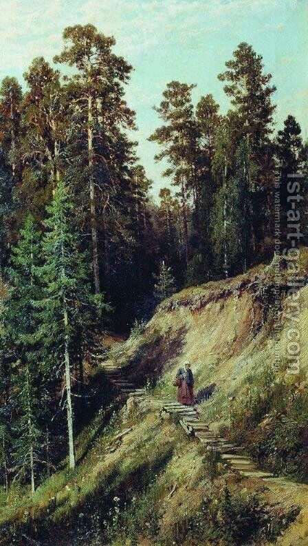 In the forest. From the forest with mushrooms by Ivan Shishkin - Reproduction Oil Painting
