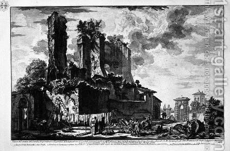 Tomb of Cecilia Metella said Capo di Bove by Giovanni Battista Piranesi - Reproduction Oil Painting