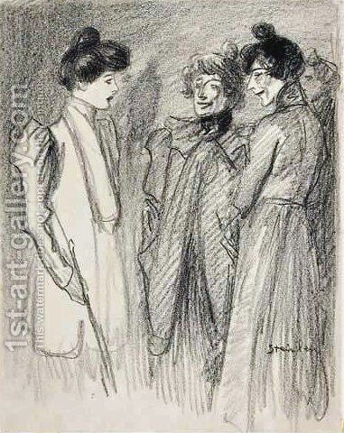Three Women 2 by Theophile Alexandre Steinlen - Reproduction Oil Painting
