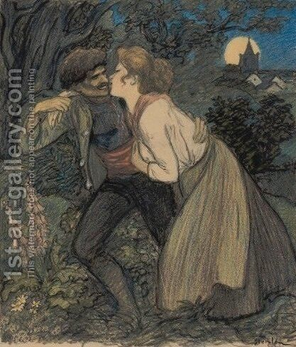 La Chienne au Loup by Theophile Alexandre Steinlen - Reproduction Oil Painting