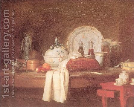 The Butler s Table by Jean-Baptiste-Simeon Chardin - Reproduction Oil Painting