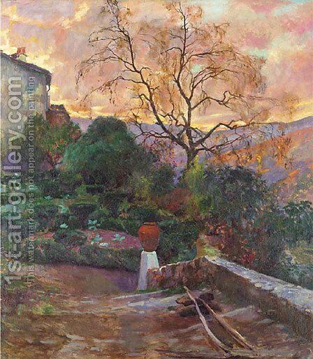 Garden of Spanish Farmhouse by Joaquin Sorolla y Bastida - Reproduction Oil Painting