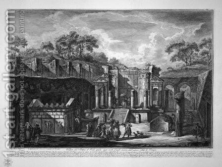 View of the Temple of Isis, which today exists among the remains of the ancient city of Pompeii, design of L Despres by Giovanni Battista Piranesi - Reproduction Oil Painting