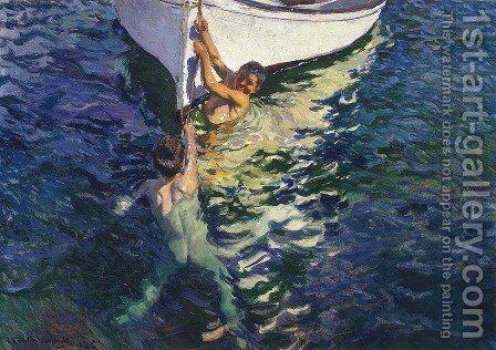 The white boat, Javea by Joaquin Sorolla y Bastida - Reproduction Oil Painting