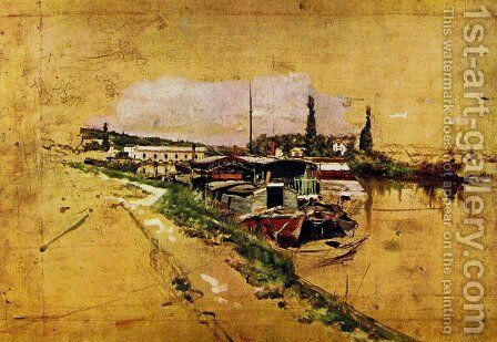 Seine in Bougival by Giovanni Boldini - Reproduction Oil Painting