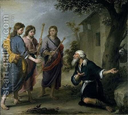 Abraham Receiving the Three Angels by Bartolome Esteban Murillo - Reproduction Oil Painting