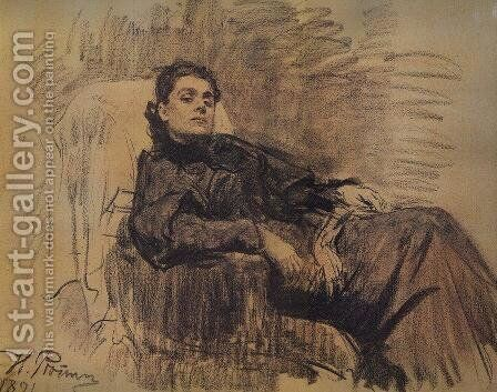 Portrait of actress Eleonora Duse by Ilya Efimovich Efimovich Repin - Reproduction Oil Painting