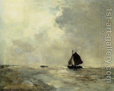 Sailing Boat in Choppy Seas by Jan Hendrik Weissenbruch - Reproduction Oil Painting