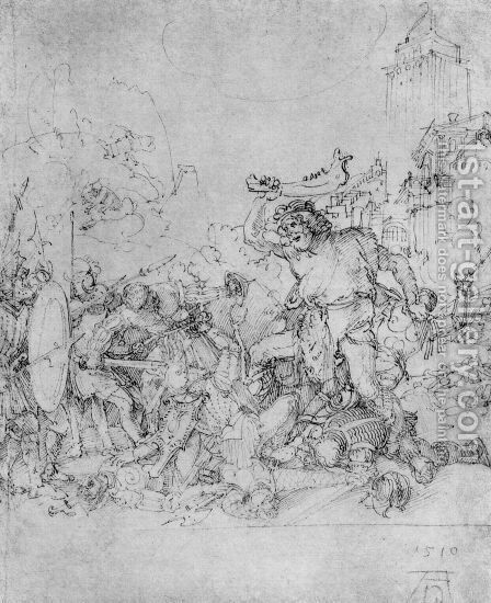 Design for the Fugger Chapel in Augsburg Samson fighting the Philistines 2 by Albrecht Durer - Reproduction Oil Painting
