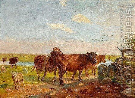 Cattle on Saltholm by Theodor Esbern Philipsen - Reproduction Oil Painting