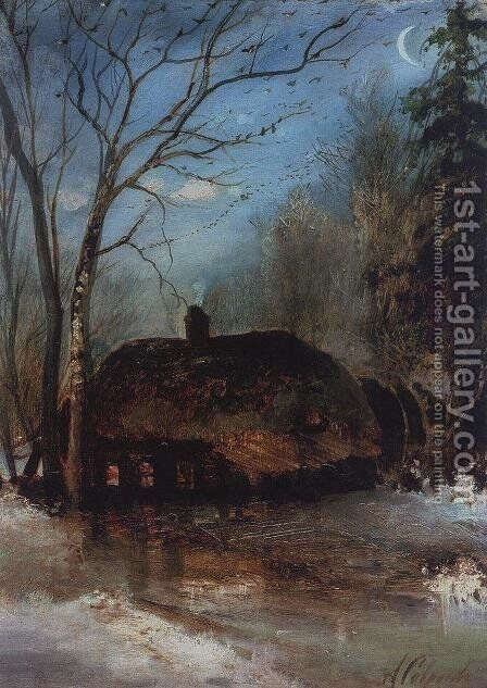 Spring landscape with cottage by Alexei Kondratyevich Savrasov - Reproduction Oil Painting