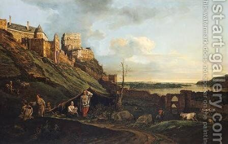 The ruins of Thebes on the River March by Bernardo Bellotto (Canaletto) - Reproduction Oil Painting