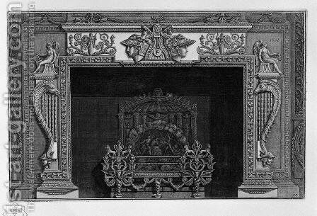Fireplace with a large ornate metal wing by Giovanni Battista Piranesi - Reproduction Oil Painting