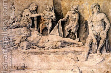 Mythological Scene, Metamorphoses of Amymone by Andrea Mantegna - Reproduction Oil Painting