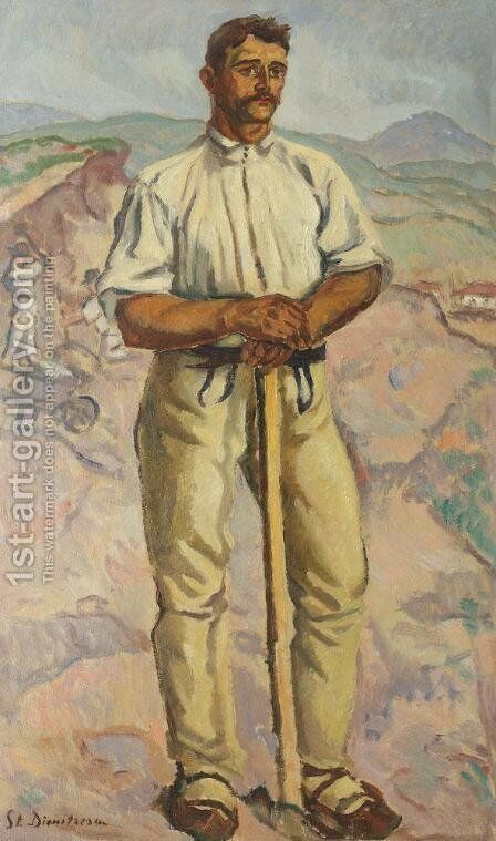 Stone Crusher (Portrait of a Peasant) by Stefan Dimitrescu - Reproduction Oil Painting