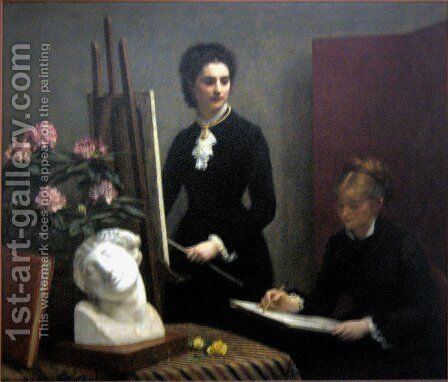 Drawing lesson in the workshop by Ignace Henri Jean Fantin-Latour - Reproduction Oil Painting