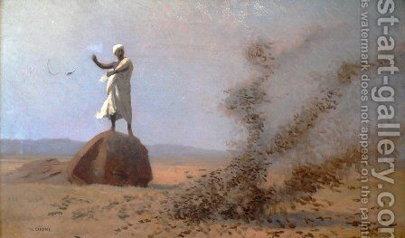 Arab Frightening Larks Away (unfinished) by Jean-Léon Gérôme - Reproduction Oil Painting
