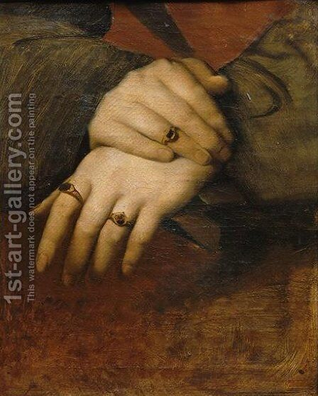 Study of a woman's hands by Jean Auguste Dominique Ingres - Reproduction Oil Painting