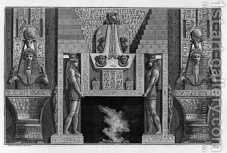 Egyptian-style fireplace, two large sides with figures supporting the top by Giovanni Battista Piranesi - Reproduction Oil Painting