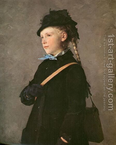 Huftbild eines Madchens (Marie Anker) by Albert Anker - Reproduction Oil Painting