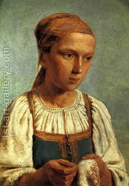 A Peasant Girl with  Embroidery by Aleksei Gavrilovich Venetsianov - Reproduction Oil Painting